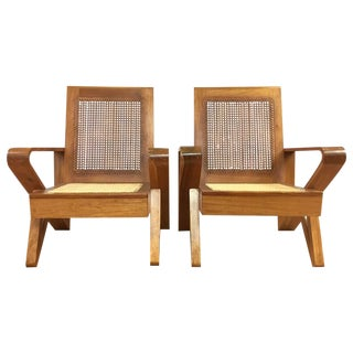 Hawaiian Koa Wood & Woven Cane Lounge Chairs - A Pair