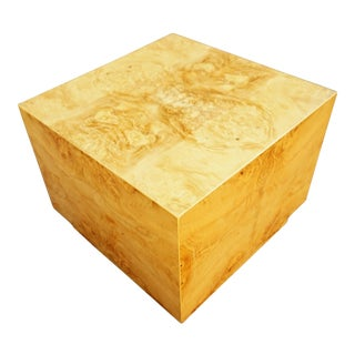 Milo Baughman Era Burled Cube Table