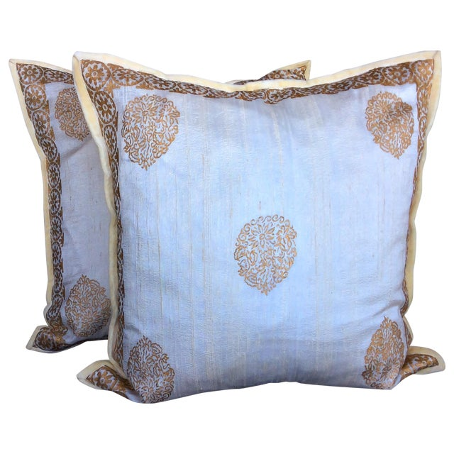 Ivory Silk Pillow Gold Hand Block Print - Pair - Image 1 of 5