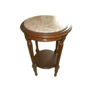 Vintage Rose Marble Top Pedestal Table
