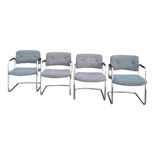Vintage Steelcase Chrome Cantilevered Chairs - Set of 4