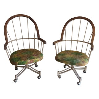 MCM Peacock Metal & Walnut Dinette Chairs - a Pair