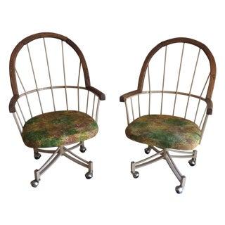 MCM Metal Frame & Walnut Dinette Chairs - Pair