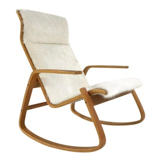 Forsyth One of a Kind Westnofa Of Norway Rocking Chair In Ivory Brazilian Cowhide