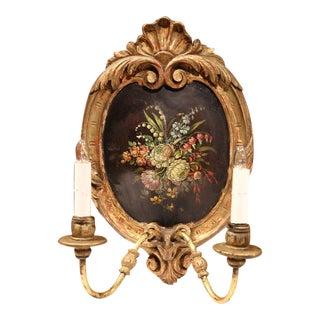19th Century French Oval Hand-Painted Floral Gilt Sconces - A Pair