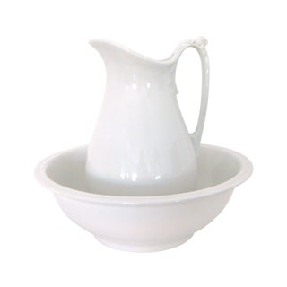 White Alfred Meakin Chamber Pitcher & Bowl