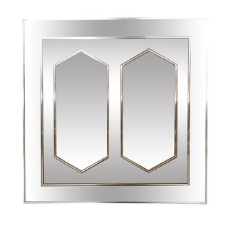 1970s Glam Brass and Glass Geometric Mirror