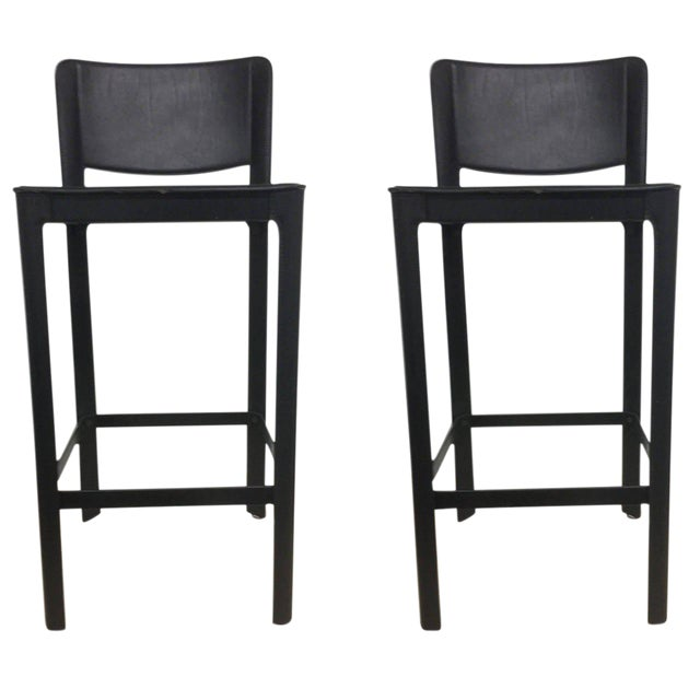 Image of Vintage Matteo Grassi Italian Leather Bar Stools- A Pair