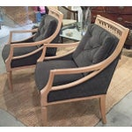 Image of Mid Century Circle Velvet Back Chairs - Pair