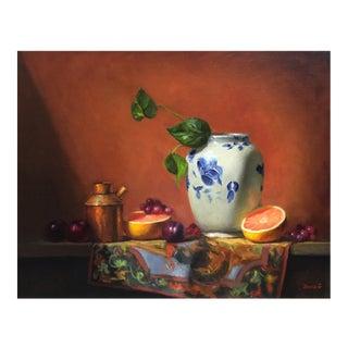 Chinese Vase & Grapefruit Still Life Painting