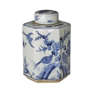 Hexagonal Flower Bird Tea Jar