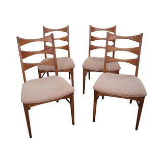 Walnut Tie Ladder Dining Chairs - Set of 4