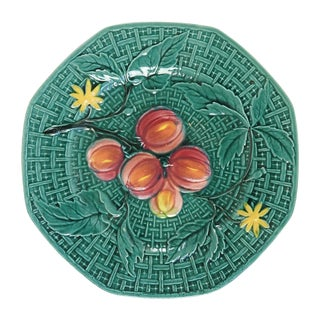 Vintage Teal & Fruit Majolica Plate