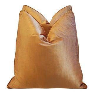 Custom Golden Copper Velvet Pillows - Pair