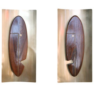 """Mid-Century """"Face"""" Wall Art Sculpture Pair by Westwood Chadwick"""