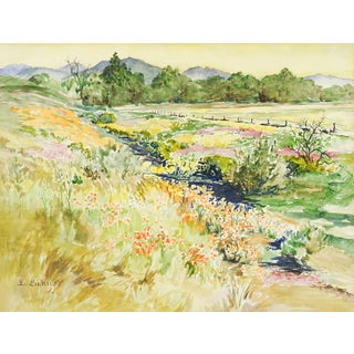 Field of Wild Flowers Watercolor by Evelyn Schuff
