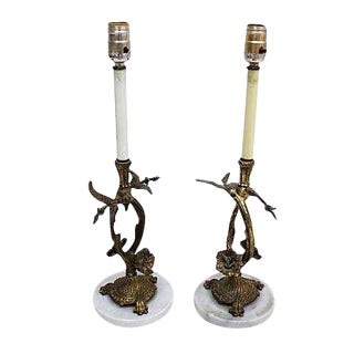 Brass & Marble Floral Lamps - A Pair