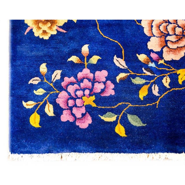 Chinese Art Deco Indigo Floral Rug - 8′ × 9′9″ - Image 4 of 4