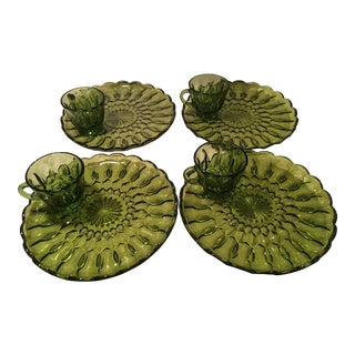 Mid-Century Green Snack Cups & Plates