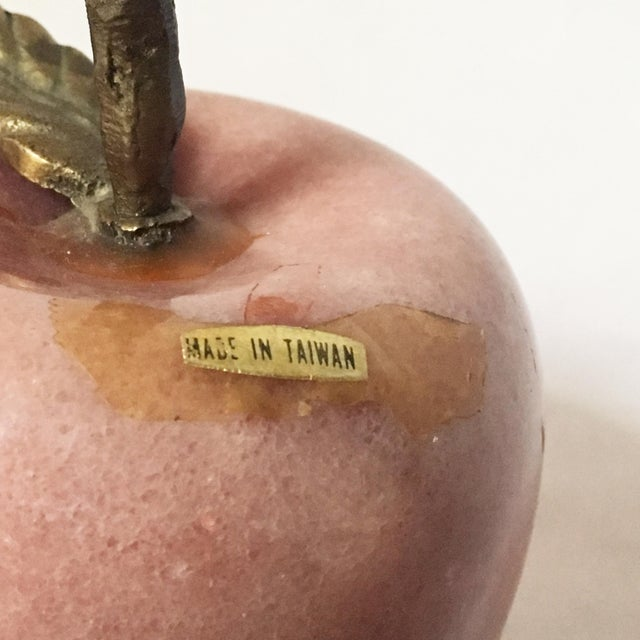 Vintage Decorative Marble Apple With Brass Stem - Image 4 of 5