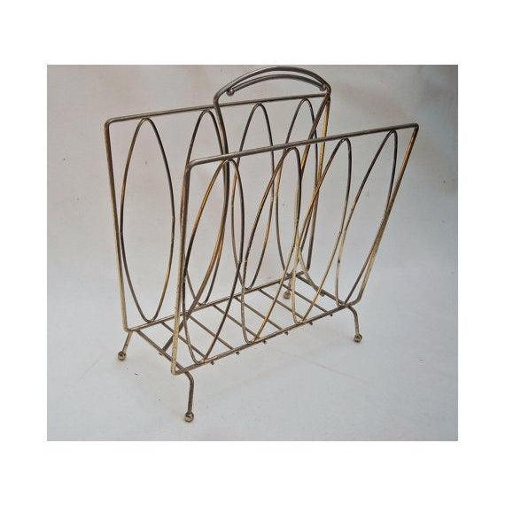 Mid Century Modern Metal Magazine Rack - Image 2 of 3