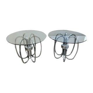 Chrome & Glass End Tables - A Pair