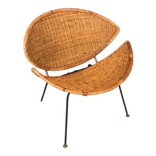 Clam Shell WIcker and Rattan Chair