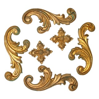 Vintage Italian Gilt Plaster Elements, S/6