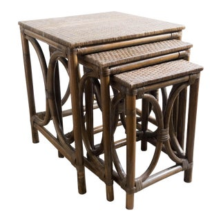 Vintage Rattan Nesting Tables - Set of 3
