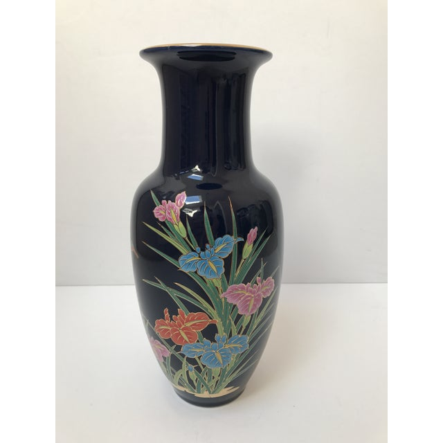 Asian Inspired Navy Floral Vase - Image 2 of 6