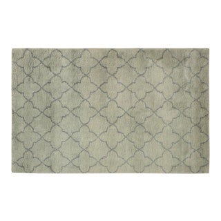 Moroccan Arya Kosmo Light Green & Gray Wool Rug - 4′ × 6′