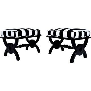 Antique Regency Style Ebonized Benches - Pair