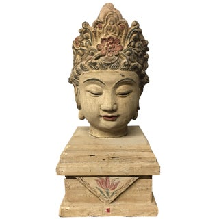 Chinese Wood Buddha Head Statue