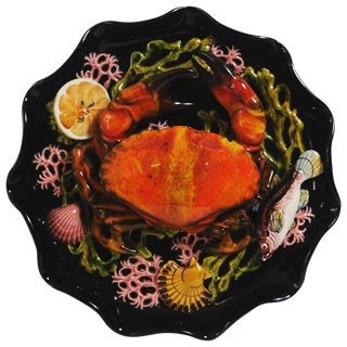 Majolica Palissy Crab Wall Platter