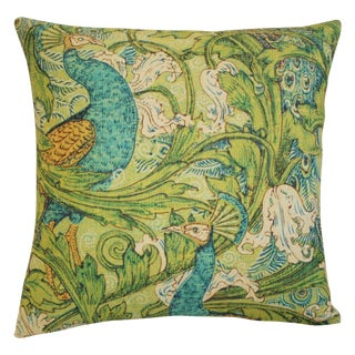 Lush Floral & Peacock Pillow