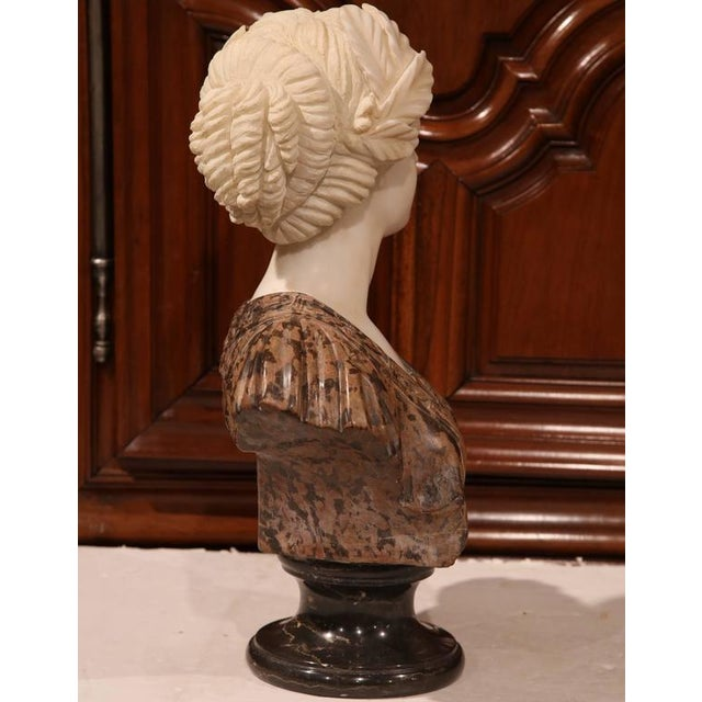 Large 19th Century Italian Carved Marble Bust of Young Lady by Goose - Image 6 of 7