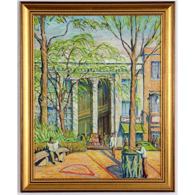 Main Street Oil Painting C. 1940 - Image 2 of 5