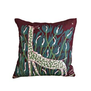 Handmade Batik Giraffe Pillow