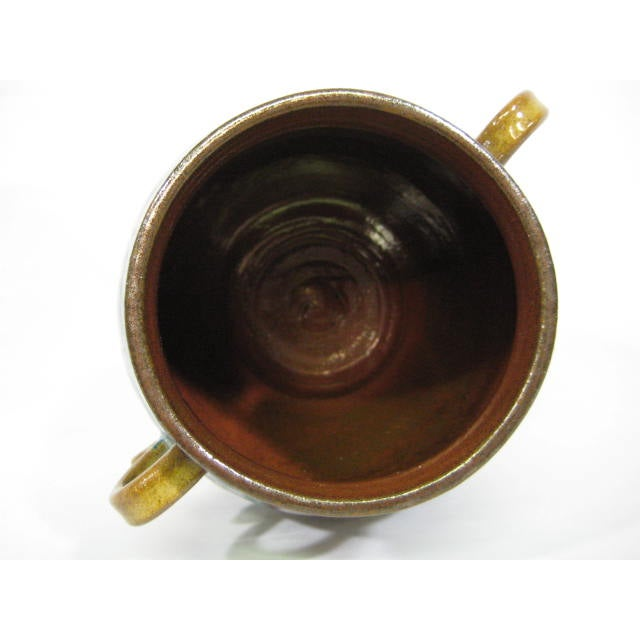 Image of Blue Double Handle Art Pottery Vase