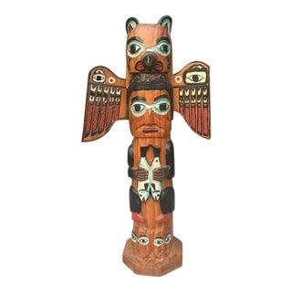 Pacific NW Native American Carved Totem Pole