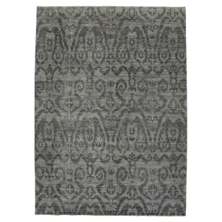 Modern Dark Gray Transitional Ikat Rug, 9'11x13'8