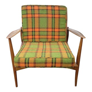 "Plaid Green & Orange Ib Kofod Larsen ""Spear Chair"" for Selig"