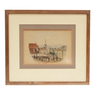 1868 Original Antique French Architectural Watercolor Painting