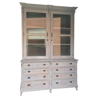 Farmhouse Country Chic Linen Press Cabinet