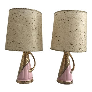 Pink & Gold Vintage Lamps - Pair