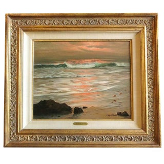 """1963 """"Surf of Sunset"""" Oil Painting by Robert Wood"""