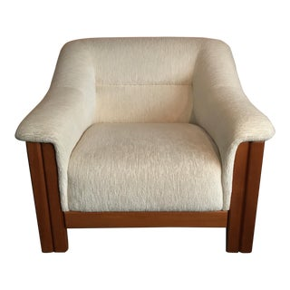 Mid Century Modern White Upholstered Teak Club Chair