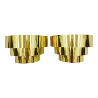 Modern Wrapped Brass Sconces - A Pair