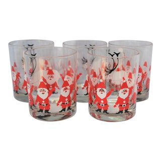 Vintage George Briard Santa Glasses - Set of 5