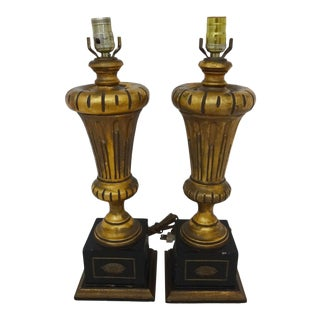 Vintage Gilded Wood Lamps - A Pair